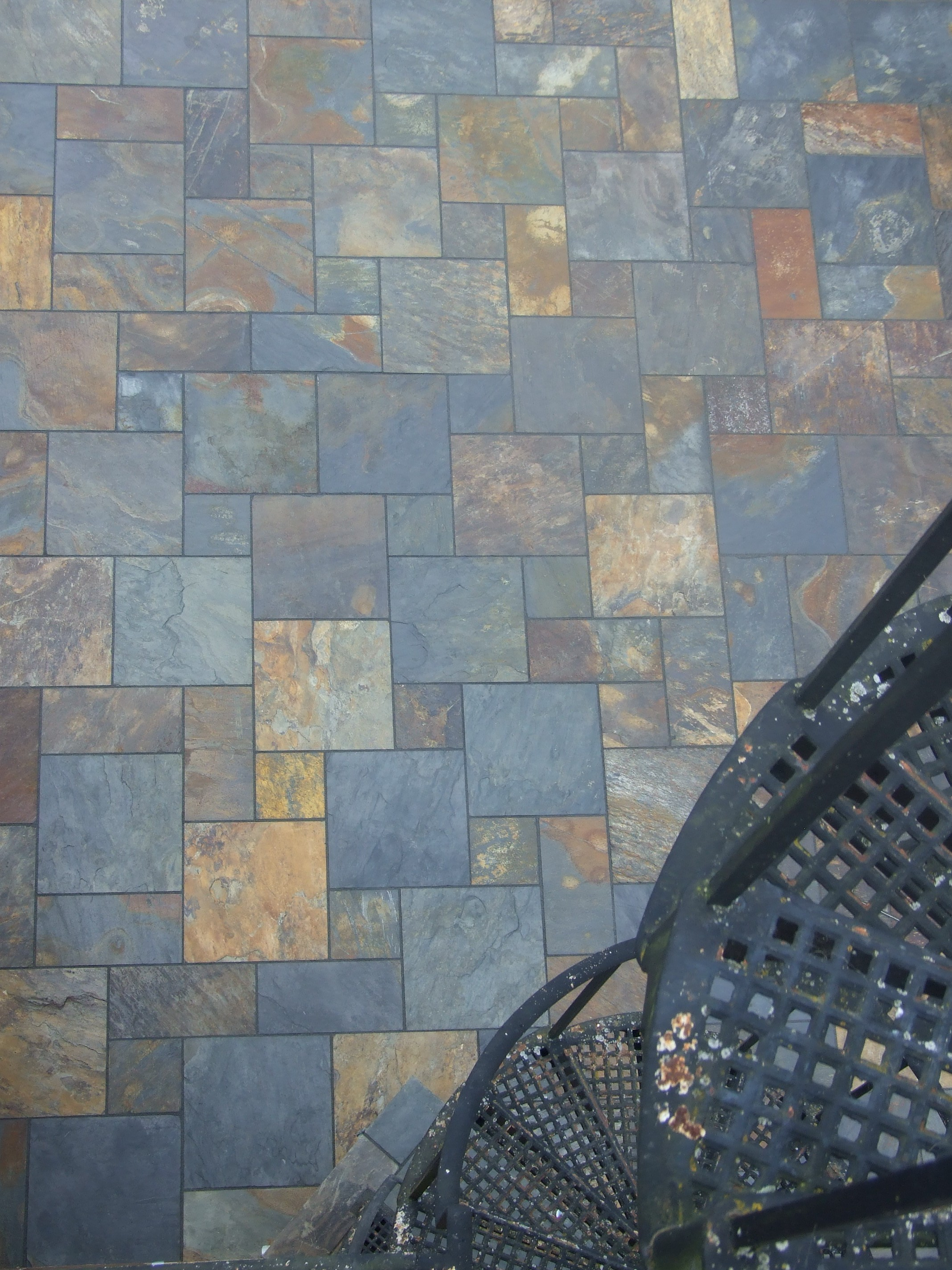 delightful image of multi coloured slate patios